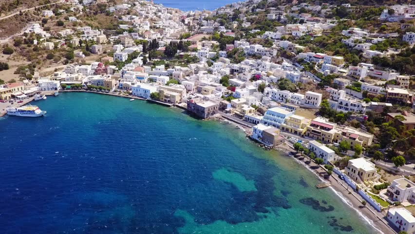 Aerial Birds Eye View Video Taken By Drone Of Picturesque Village Agia Marina In Beautiful