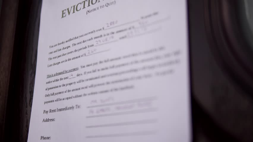 House Eviction Notice Sign For Repossession, Bank Home Mortgage Or Rent Debt 4K. Economic Recession.
