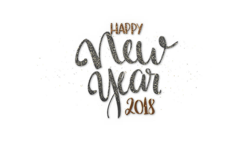 Happy New Year 2018 Text + Alpha Channel