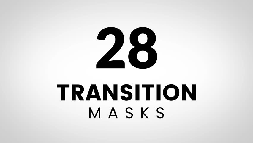 28 Transition shape masks. Ultimate set of transitions for business presentation or product promo video. Simple and stylish shape masks for trendy slide theme.