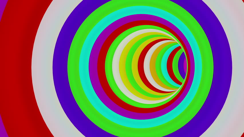 Colorful Long Round Tunnel - loop. 3D animation of flying through a curvy colorful tunnel.