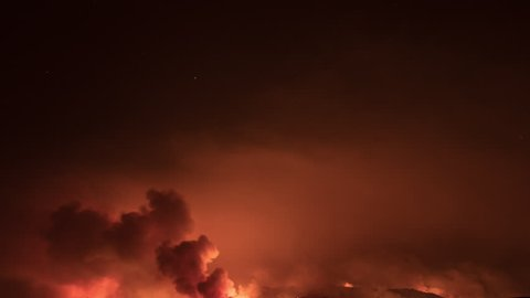 California Wildfires Time Lapse Night 4k from a 6K source 4444 Set of 5