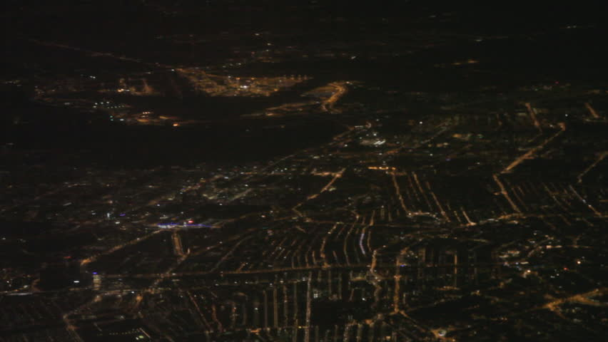 Birds eye view of Amsterdam by night