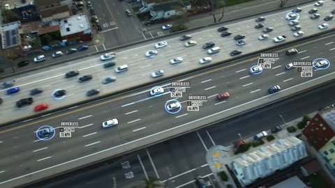 Driverless or autonomous car aerial view. Traffic passing by a highway. Plate number, miles per hour and ID number displaying. Future transportation. Artificial intelligence. Self driving.