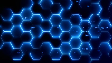 Abstract hexagonal background,hexagon cell on black background for broadcast and films,High-tech 3D animation,Hexagon Geometric Surface Loop,light bright clean minimal hexagonal grid pattern footage,