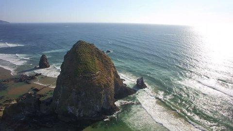 Oregon Coastline Haystack Rock Aerial Shot