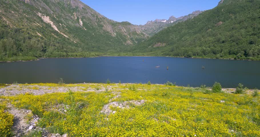 Beautiful blue lake in the mountains. Birth of a Lake Trail. Mount St Helens National Park, South Cascades in Washington State, USA. 4K, 3840*2160, high bit rate, UHD