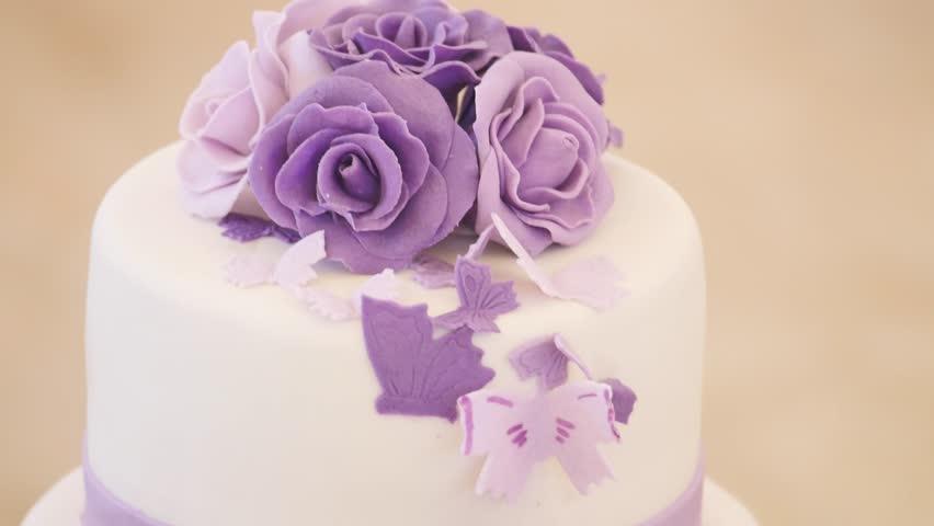Wedding Cake Closeup Purple Tone
