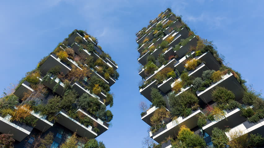 MILAN, ITALY - NOVEMBER 2017; Bosco Verticale (Vertical Forest), residential towers in Porta Nuova district.