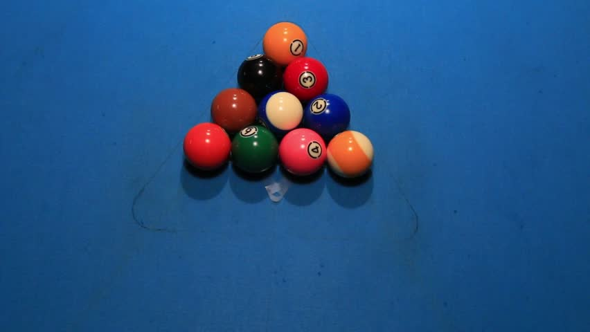 Opening Break Shot Of Balls On A Blue Pool Table   HD Stock Footage Clip