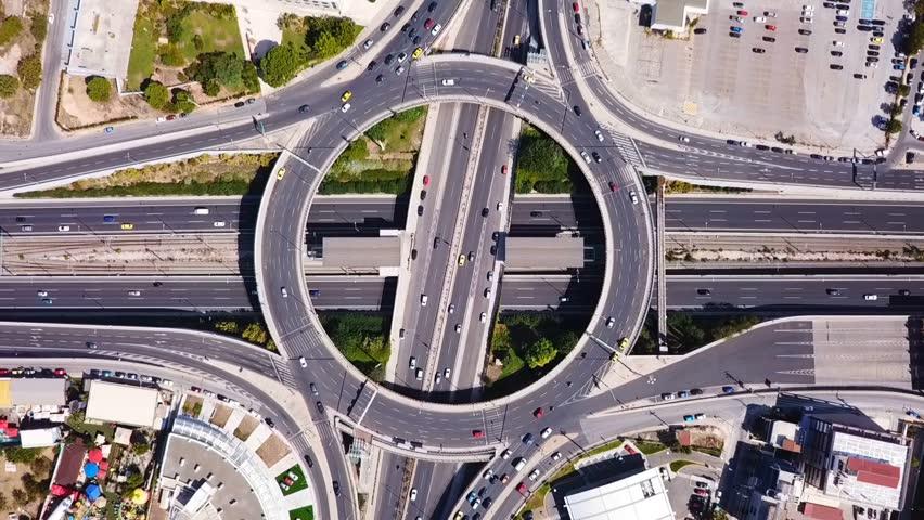 Aerial drone bird's eye view video of popular highway of Attiki Odos ring road, passing through Kifisias Avenue, Attica, Greece