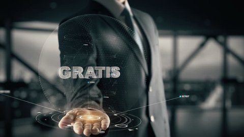 Gratis (German) with hologram businessman concept, in English Free