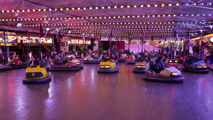 FUNCHAL, PORTUGAL - DECEMBER 6, 2017: Bumper cars in popular fair in Funchal City, Madeira island, Portugal.