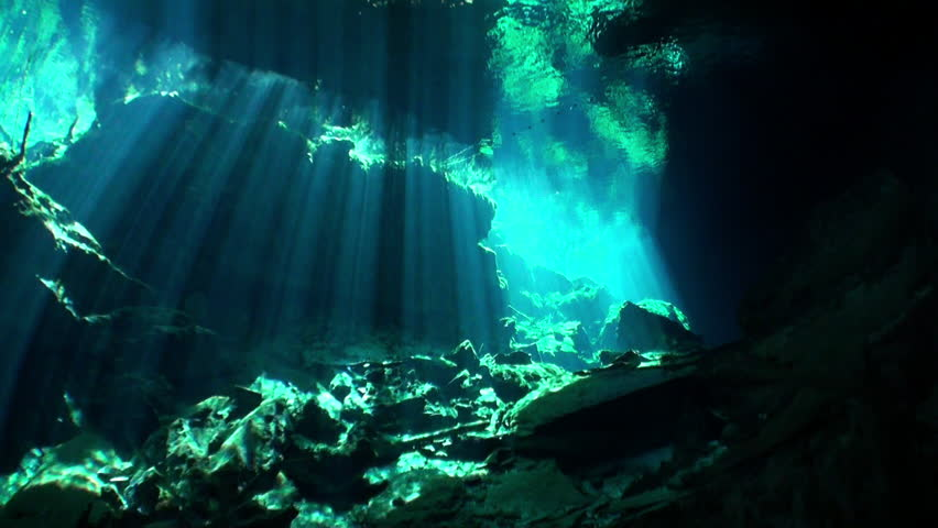 Yucatan Mexico cenotes underwater. Scuba diving in clean and clear underground water.