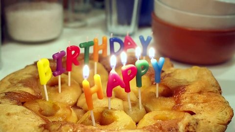 A Hand Lighting Happy Birthday Stock Footage Video 100 Royalty
