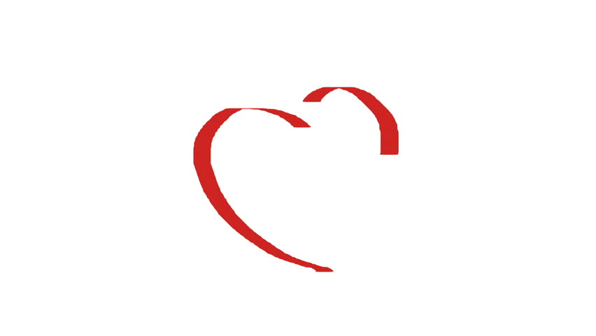 Heart Symbol Painted By Crimson Red Paint On White Background