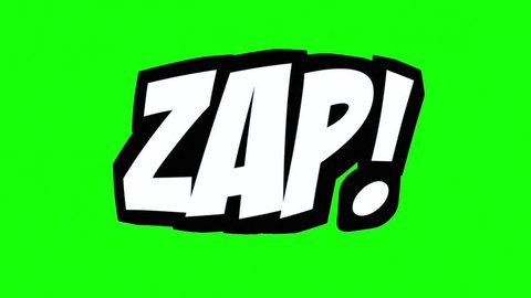 A comic strip speech cartoon animation with the words Omg Zap Ugh Zip. White text, black shadow, green background.