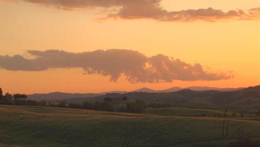Sunset in the province of Siena in Tuscany, Italy