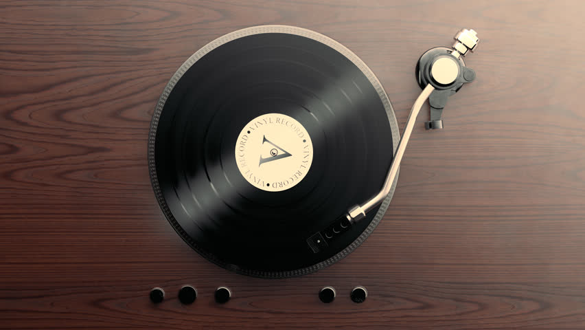 03046 Loopable animation of record player with spining vinyl.