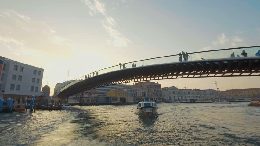 Driving under the newest bridge in Venice: Ponte della Costituzione , Italy | Shutterstock HD Video #33825769