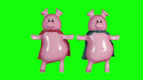 Pigs in blankets - cute piggies dancing to celebrate the holidays. 3d looping animation on green.