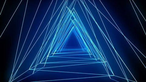 Abstract technology tunnel. connection line concstruciton sharp corners with reflections and moves forward towards the Blue light. Dynamic background for project