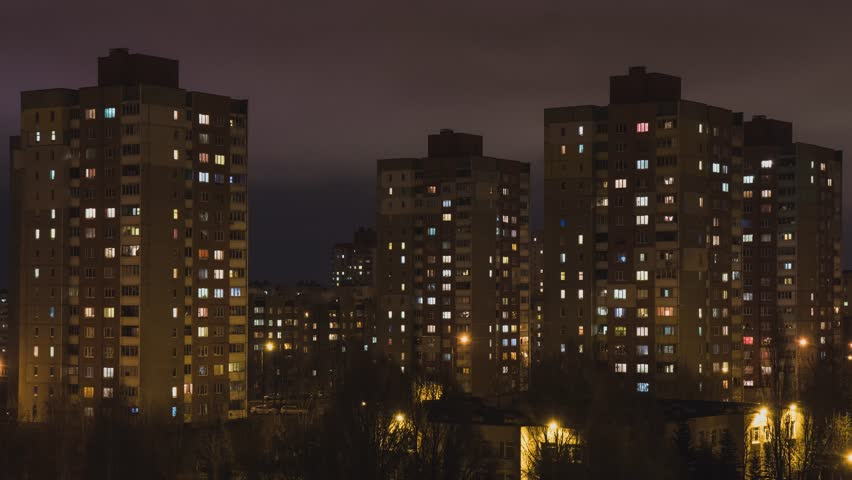 House. City. People. Population. Electricity. Electricity. Shine. A life. Night city. Night. Window. High-rise building.   Shutterstock HD Video #33880069