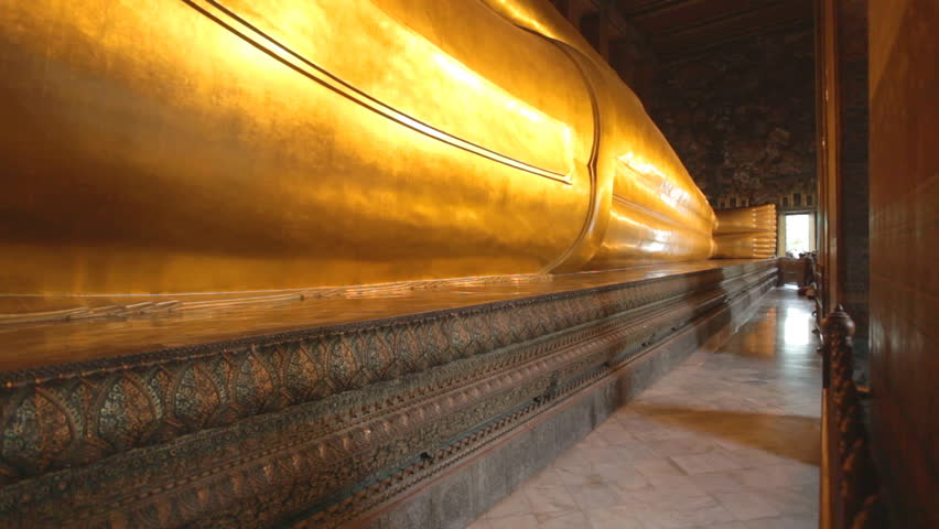 Pan of the reclining buddha at Wat Pho temple in Bangkok, Thailand
