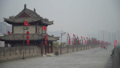 Xian City Wall at West Gate on a Foggy Winters Morning in Xian China 4K