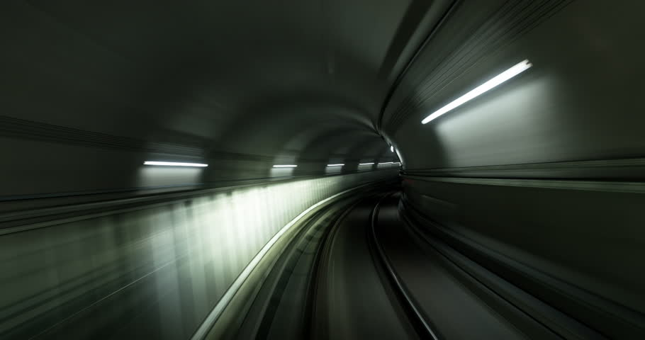 Point of view timelapse clip of a subway train journey.
