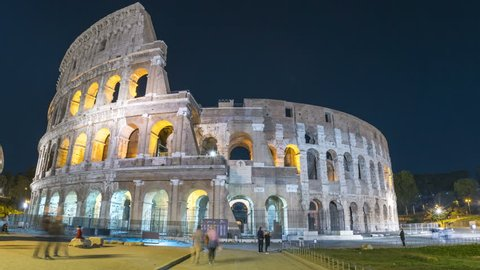 Rome Colosseum Hyplerpase at night, Italy. Coliseum Rome Italy night footage.
