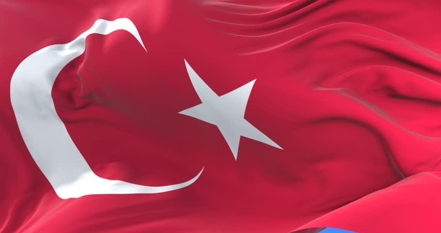 Flag of Turkey waving at wind in slow in blue sky, loop