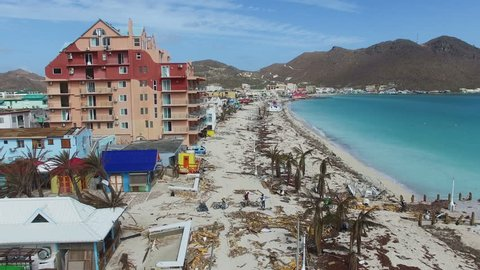 Philipsburg St.maarten: September 2017: Hurricane Irma destroy famous great bay beach and buildings on st.maarten.