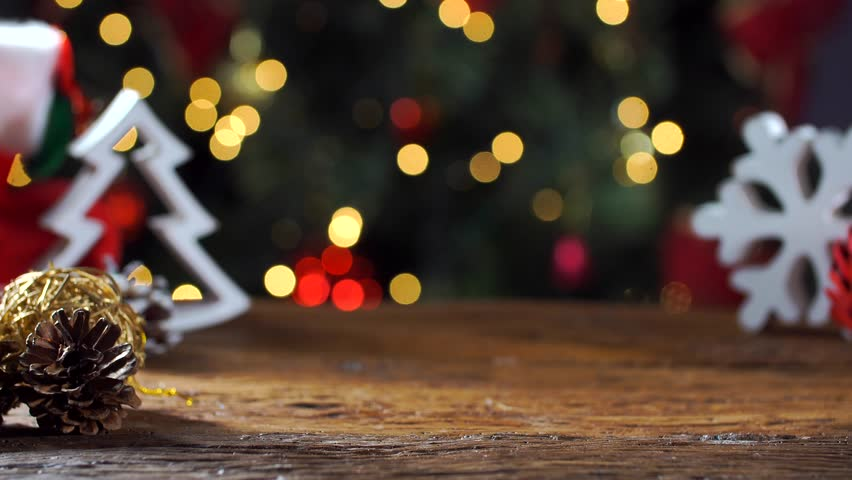 Christmas Table Blurred Lights Background Stock Footage