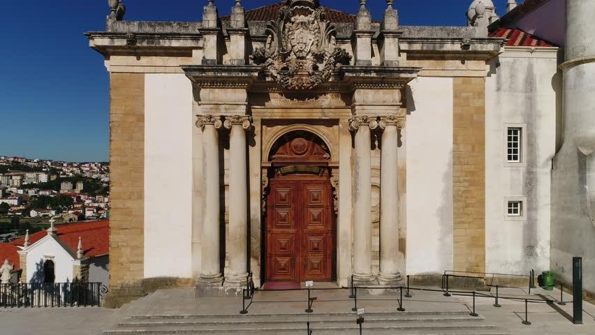 Facade of Joanina Library, Coimbra, Portugal