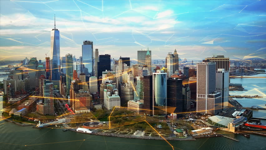 Aerial view of New York with big data network  Technology. Futuristic. Perfect to illustrate: internet of things, Smart cities, big data, augmented reality.  Shot from helicopter. | Shutterstock HD Video #34006999