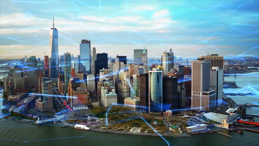 Aerial view of New York with big data network  Technology. Futuristic. Perfect to illustrate: internet of things, Smart cities, big data, augmented reality.  Shot from helicopter.