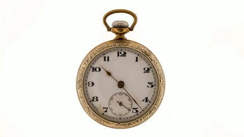 Vintage pocket watch isolated on white background. The hour, minute and second hands move at an accelerated pace.