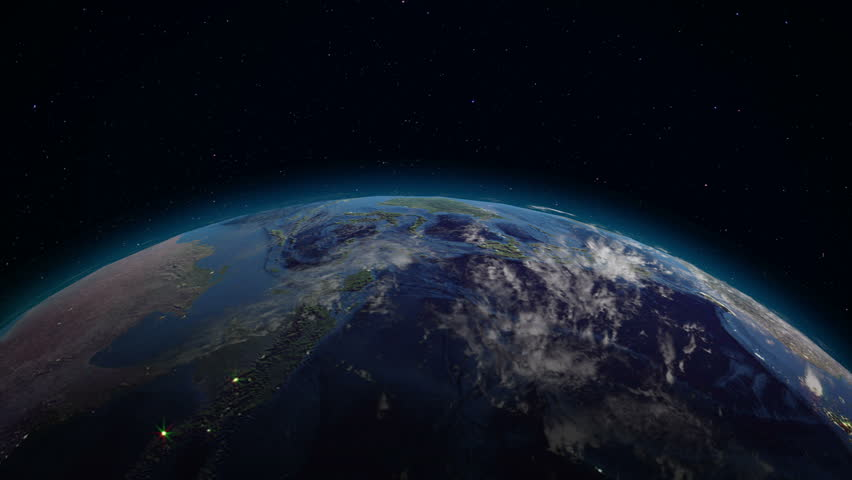 Realistic Earth rotating in space (loop). On the planet Earth is visible the change of day and night, with the correct rotation in the seamless loop. There are cities with night lighting | Shutterstock HD Video #34052749