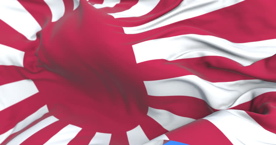 Rising Sun Flag japanese waving at wind in slow with blue sky, loop | Shutterstock HD Video #34076239
