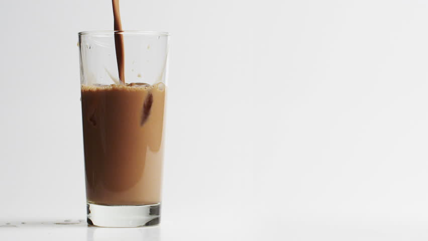 Glass Of Chocolate Milk With Straw
