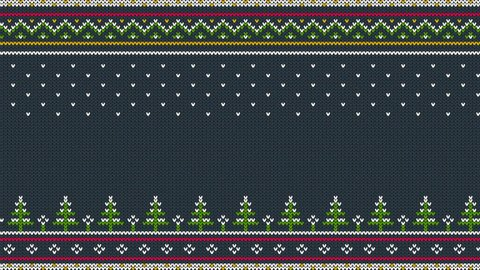 Animated looped Knitted Scandinavian colored horizontal ornament with Christmas trees in the snow.