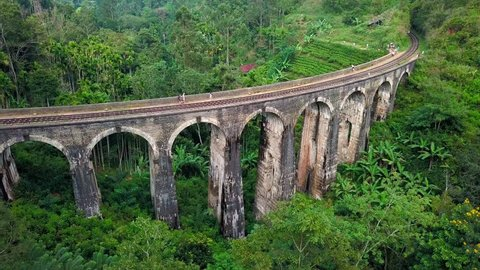Aerial shot of colonial railway bridge (viaduct) named Nine Arches Bridge. Ella, Sri Lanka