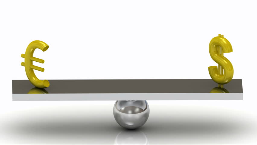 Balance of the Dollar and the Euro on the rocking polished board   Shutterstock HD Video #3416099