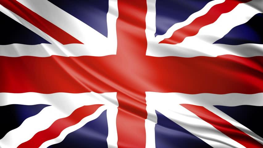 United Kingdom Flag: UK's Union Jack waving. 1080p