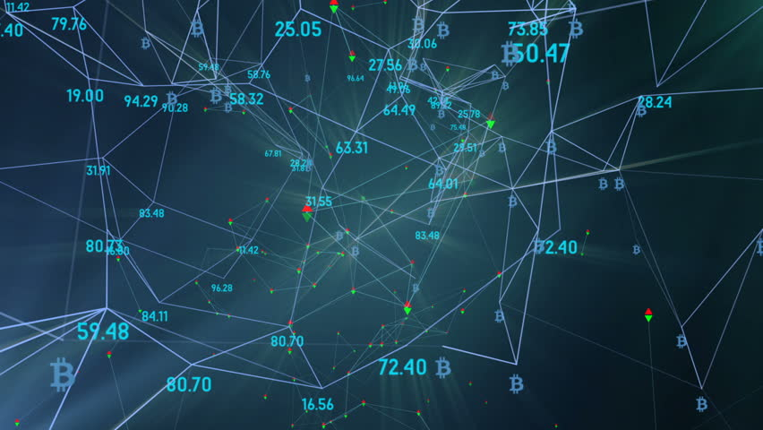 The radiance of the network from the numbers of sensors, the logo bitcoin. rotation in a circle. plexus network cinematic business background. seamless loop. | Shutterstock HD Video #34199629