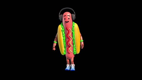 Part 2 Hot Dog Food Dance  Alpha Matte Shadow 3D Renderings Animations