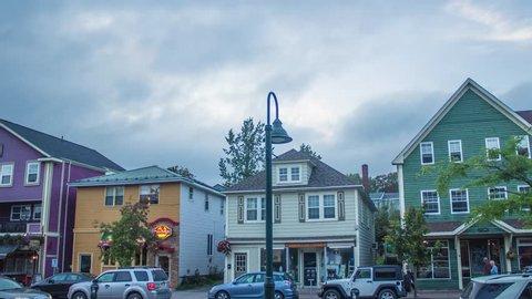 Small Town Main Street at Dusk, Antigonish, Nova Scotia, Canada