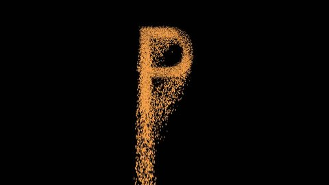 latin letter P appears from the sand, then crumbles. Alpha channel Premultiplied - Matted with color black