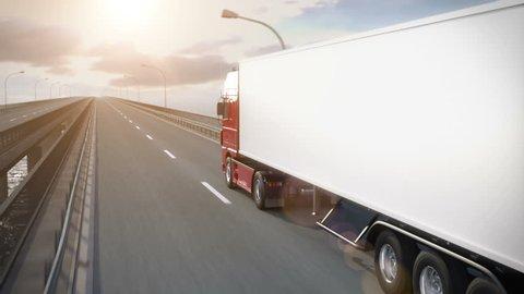 Truck driving along a bridge - high quality 3d animation
